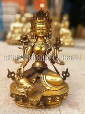 Tibet prayer buddhist Ancient Bronze gilding Buddha Tara (Green) Statue