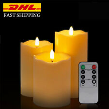 Remote Control Flickering Candles with Timer - Set of 3 White Led Candle Lights