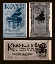 AD LOT OF 3 EARLY 1900 'S ADS KRANICH BACH PIANO GRANDETTE PLAYER GRAND