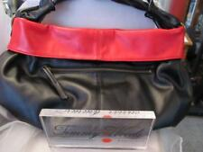 Vintage Timmy Woods of Beverly Hills Reversible Black & Red Slouchy Tote Handbag