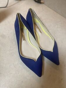 Sophia Webster Suede Notched Butterfly Point Blue Flats Sz 37.5  Size 7.5