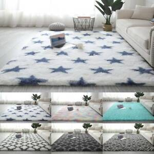 Fluffy Rugs Anti-Skid Area Rug Geometry Floor Mat Home Decor Living Room Carpet
