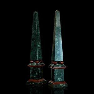 Obelisco Classico Marmo Verde e Rosso con Sfere Italian Marble Obelisk H.47CM