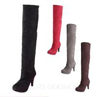 idomcats Womens Over The Knee Boots Ladies Shoes High Heels Winter Booties Size