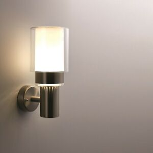 OLYMPIA Outdoor Garden LED Wall Light - Stainless Steel - Cool White 4000K IP44