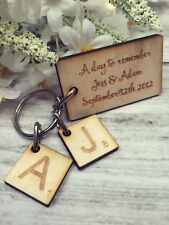 Personalised Engraved Wood 'Day to Remember' Scrabble Key Ring Ideal Couple Gift