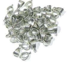 5 Pendant Bails Bead Hangers Antiqued Silver 5.5mm Hole 14x7mm