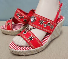 BNWOT Ladies Sz 7 38 Stunning Red Timeless Beaded Wedge Heel Summer Sandals