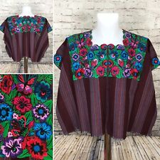 Guatemala Butterfly Floral Huipil Poncho Purple Blue Green Embroidered A9-2