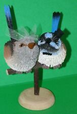 Blue wren Wedding Bride & Groom Ornaments, Cake Topper, Gift, Table Decoration