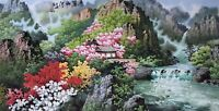 ORIENTAL ASIAN FINE ART CHINESE SANSUI WATERCOLOR PAINTING-Landscape scenery