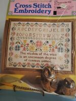 "Vintage 1972 THE WISDOM OF THE WISE Sampler14x11"" Stamped Cross Stitch Kit Linen"