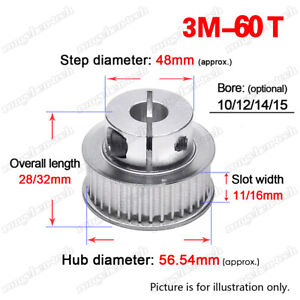 3M60T Timing Belt Pulley 10/12/14/15mm Clamp Bore 3mm Pitch for 10/15mm Wide Bel
