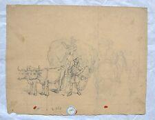 Esquisse d'Attelage de Philippe Chaperon - Plume et Mine de Plombs - Circa 1846