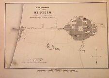 PERÚ. Mapa topográfico de la ciudad de Pisco.Paz Soldán.Geografía del Perú 1865.