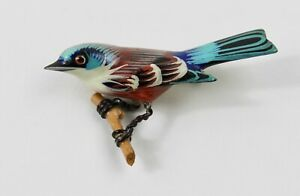 Takahashi bird brooch wire leg & push pin fastened clasp hand carved wood #2