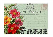 Victorian Vintage Postcard Reproduction Metal Wall Hanging Paris French Style