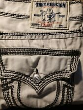 True religion jeans 36 Straight White Black Stitch New Super T