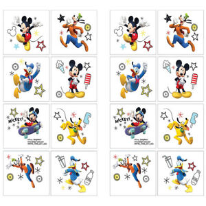16 Mickey Mouse Temporary TATTOOS Birthday Party Favor Stocking Stuffers 2 Sheet