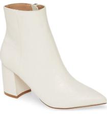 Para mujeres Zapatos Steve Madden nadalie Bloque Talón Puntiagudo Botines Luz hueso Cocodrilo