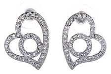 Swarovski Elements Crystal Heart Circle Pierced Earrings Rhodium Plated 7101x