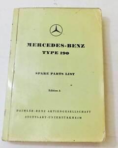 1956 Mercedes Benz 190 Ponton - Original Spare Parts List In English