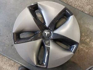 "1x Tesla Modell 3 Aero Radkappe 18"" Alufelge 1044231 00 B Dunkel Neu Abdeckung"