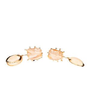 RRP €365 PEET DULLAERT Vaia Jacket Earrings HANDMADE Pearl & Shell Embellished