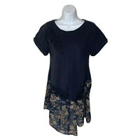 Anthropologie Akemi + Kin Womens Tunic Top Size Small Navy Blue Blouse