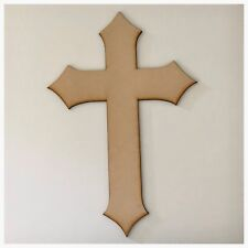 Cross MDF Timber Rustic Pointed DIY Raw Cut Out Art Religious Craft Decor 3mm
