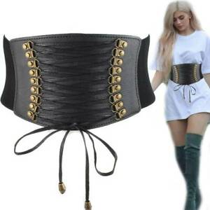 Women Leather Wide Waist Belt Lace Up Elastic Stretch Corset Cinch Waistband New