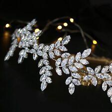 Bridal Hair Vine Simulated Diamonds Olive Branch design Rhodium Plated