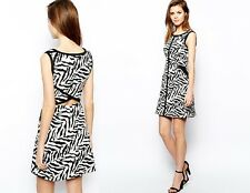 Karen Millen NWT Cotton Zebra Print Shift Dress w/ Cutout Back S US 8 UK 12 $250