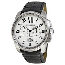 Cartier Calibre de Cartier Silver Dial Black Leather Automatic Mens Watch