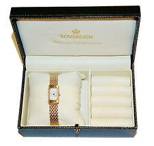 Caracteriza completamente Oro Amarillo 9ct y soberano Rectangular señoras reloj de Diamante
