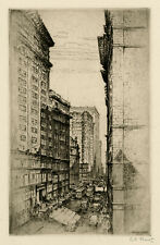ANTON SCHUTZ, 'THE CANYON OF OLIVE STREET, ST. LOUIS', signed etching, 1927.