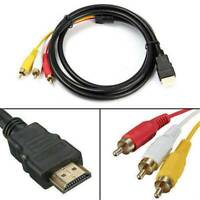 HDMI Male To 3 RCA AV Audio Video 5FT Cable Cord Adapter For TV HDTV DVD 1080P .