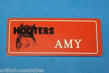 HOOTERS RESTAURANT GIRL AMY ORANGE NAME TAG (PIN)
