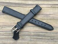 Watch Replacement Band Black Genuine Leather Band Only Strap Size 14mm