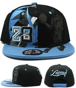 Chicago New Greatest MJ 23 Jordan Bulls LT Blue Black Dunk Era Snapback Hat Cap