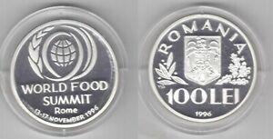 ROMANIA – SILVER PROOF 100 LEI COIN 1996 YEAR WORLD FOOD SUMMIT KM#133