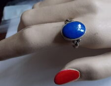 Sterling Silver 925 Hallmarked Blue Lapis Lazuli Cabochon 9 Signet Ring  1a5