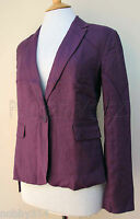 Ladies 100% Linen Jacket / Top By BC Clothing Purple Black 10 12 14 New