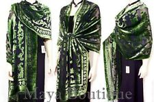 "Maya Matazaro Silk Opera Shawl Wrap Scarf Burnout Velvet Green Oblong XL 110"""