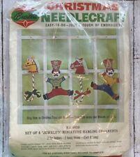 New listing Bucilla Christmas Needlecraft Jeweled Miniature Ornaments Soldiers/Horses Vtg