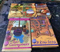Lot Of 5 Maggie Sefton Cozy Mysteries Delicious Recipe And Knitting Pattern...