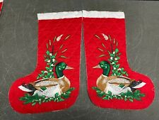 Vtg 70s to 80s Double Sided Quilted Christmas Stocking Duck fabric panel PRECUT
