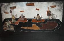 Contemporary European large  gouache painting theatre stage design