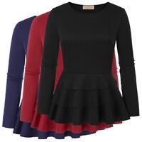 Womens Long Sleeve Ruffle Hem T-Shirt Casual Party Skater Peplum Tops Blouse