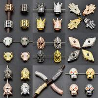 Zircon Gemstones Micro Pave Skull Buddha Crown Connector Charm Bracelet